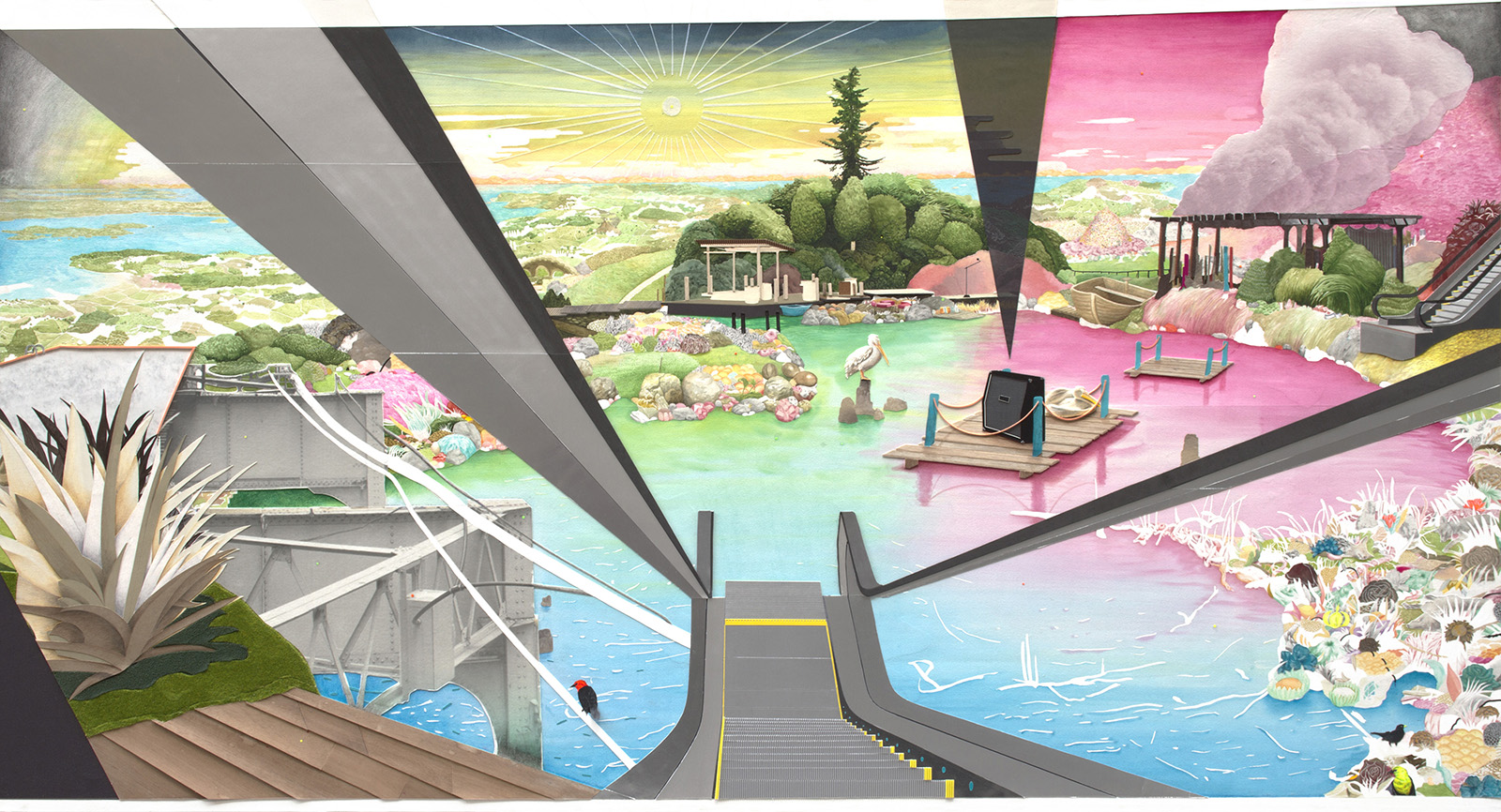 All you see - The wit of the staircase. 2013. Watercolour, crayons, markers, graphite and collage on paper. 135 x 250 cm